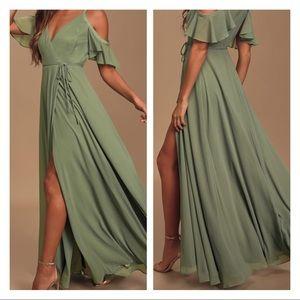 Sage Green Cold-Shoulder Wrap Maxi Dress